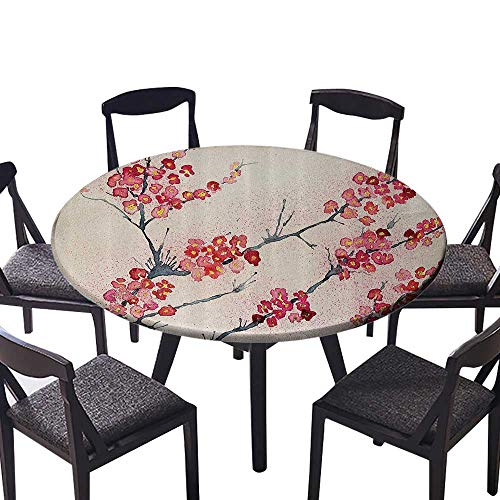Youdeem-tablecloth Circular Table Cover Cherry Blossoms Sakura Eastern Old Style Painting Vintage Asian Theme 47.5