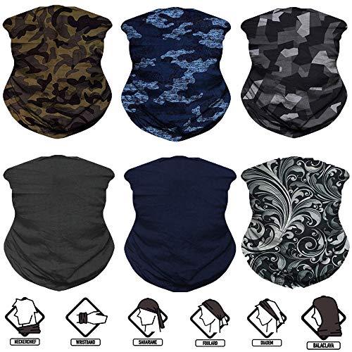 Neck Gaiter, 6PCS/ 9PCS Sport Headwear Face Bandana Mask Elastic UV Resistence Magic Headband for Men and Women
