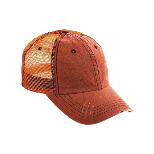Wholesale Trucker Caps (Wholesale Low Profile Unstructured Herringbone Cotton Twill Distressed Mesh Trucker Caps (Orange) - 19778)