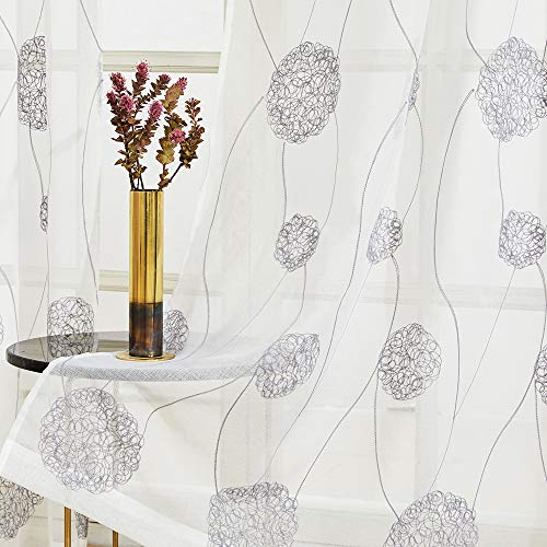 Floral Embroidered Sheer Curtains 84 inches Long Living Room Semi Curtain Sheers Bedroom Flower Embroidery Voile Curtain Panels Nest Design Drapes Rod Pocket Window Treatment 2 Panels Grey on White (Simple Designs Small Curtain Windows For)