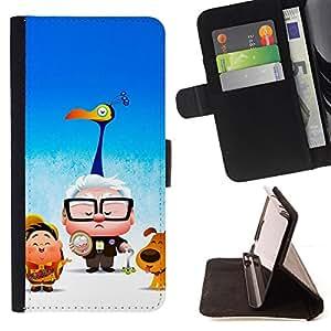 BullDog Case - FOR/HTC One M9 / - / cartoon kids blue movie poster /- Monedero de cuero de la PU Llevar cubierta de la caja con el ID Credit Card Slots Flip funda de cuer