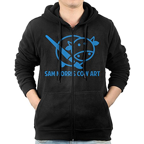 [SFG Men Sam Morris Cow Art Hip-Hop Particular Hoodie Hooded Sweatshirt Casual Style XXL Black] (Morris Costumes Owner)