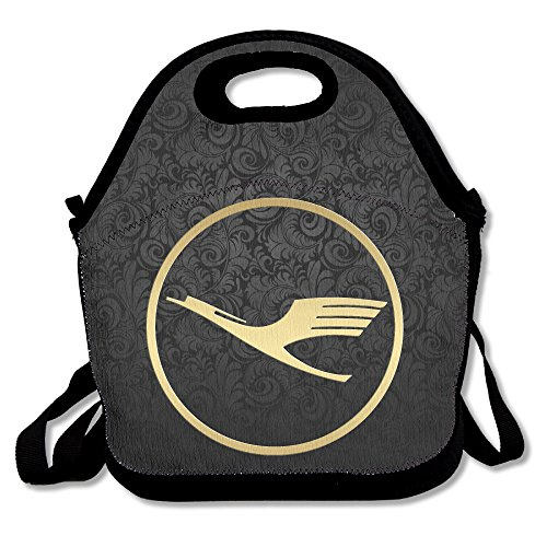 golden-lufthansa-insulated-lunch-bag-backpack-tote-with-zipper-carry-handle-and-shoulder-strap-for-a
