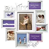 """Trimming Shop Photo Frames Multiple Photos Wallmount Home Arts Picture Decor Sweet """"Family"""" Memories 9 Frames Various Size With 6 X 4 Inches (15 X 10Cm) White"""