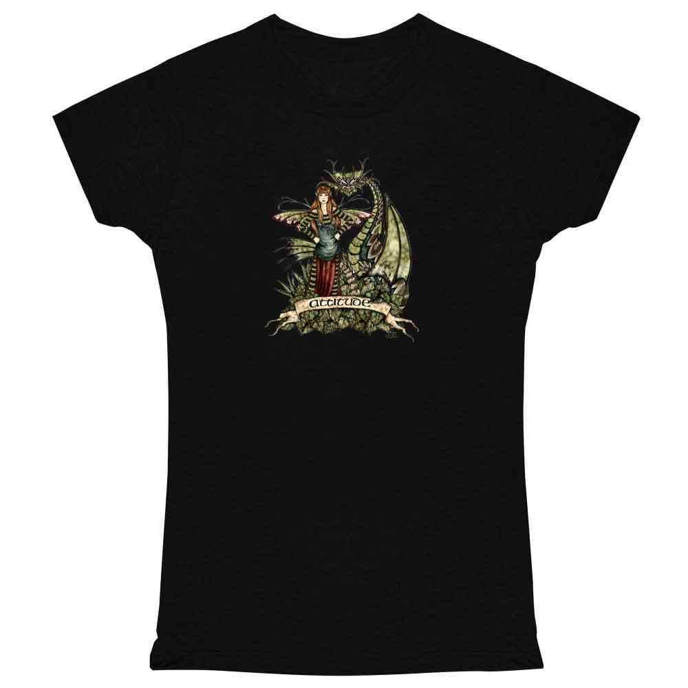 02f245a1e2b Amazon.com  Attitude Fairy by Amy Brown Art Womens Tee Shirt  Clothing
