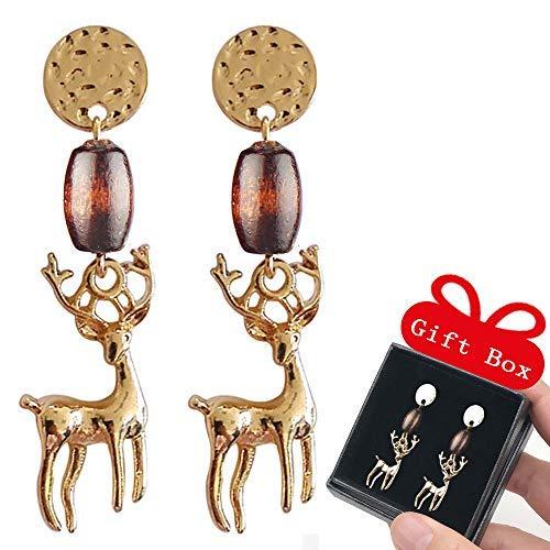 Dangling Earrings of Deer Drop Mori Girl Style Studs Earrings With Wooden Beads Vintage Women Gifts in Box