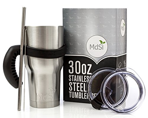 MdSiY Tumbler Set 30 oz - Stainless Steel Vacuum Insulated with Handle, Spill Proof Lid, Splash Proof Lid, Brush, Straw (Complete Christmas Gift Set)