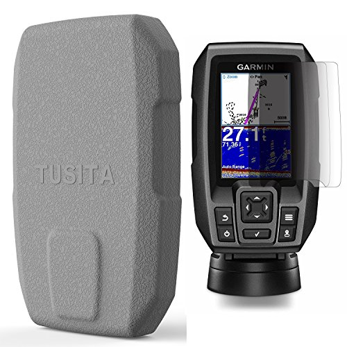 TUSITA Protective Cover with Screen Protectors for Garmin Striker 4 4cv 4dv (NOT for Striker Plus 4 4cv), Replacement Silicone Case Accessories for Garmin Fish Finder by TUSITA