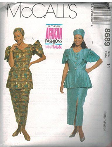 (8689 McCalls Sewing Pattern Uncut Misses Emeaba Emeaba African Fashions Two Piece Dress Hat Headwrap Size)