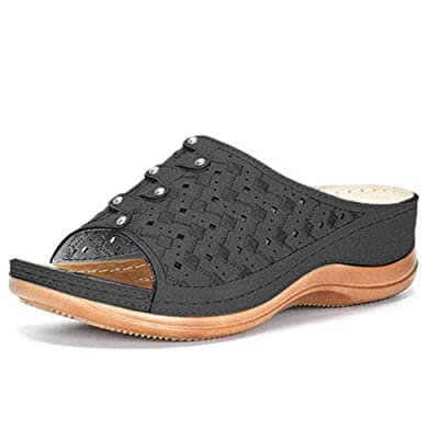 Women/'s Genuine Leather Rivet Block Heels Open Toe Sandals Shoes Slippers Casual