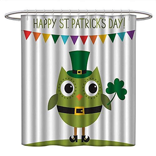 Anshesix St. Patricks Dayfunny Shower curtainOwl with Leprechaun