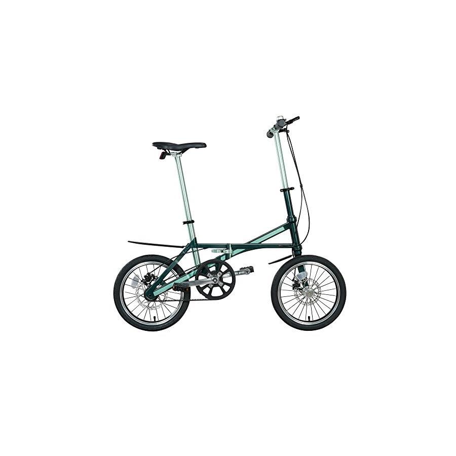 Jaunty Carbon Fiber Folding Bike Lightweight Single Speed , Green , M