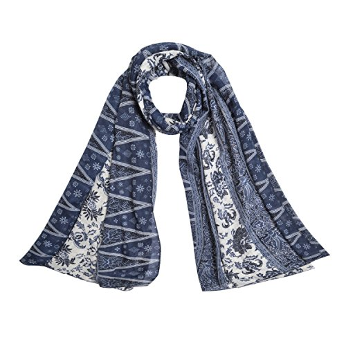 Leaf Print Fashion (Elegant Soft Floral Vine Leaves Print Fashion Scarf Wrap, Blue)