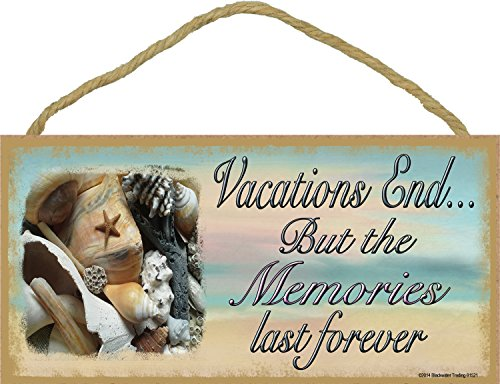 Home Vacation Decor - Sea Shell Vacations End But Memories Last Forever Beach Sign Plaque 5
