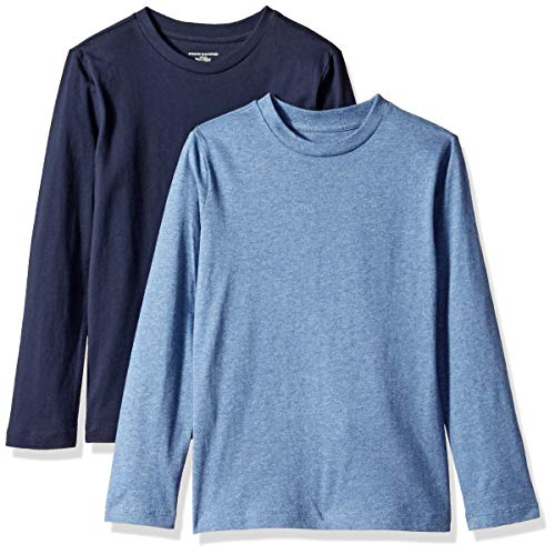 (Amazon Essentials Little Boys' 2-Pack Long-Sleeve Tees, Heather Blue and Navy Blazer, S (6-7))