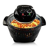 Black Digital Halogen Convection Oven Cooker with Lid Air Fryer Accessories Glass Bowl Timer Large 12L Electric Halogen Convection Oven Black for Baking Grill (Black)