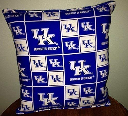 University Kentucky UK Pillow 10 inches by 11 inches Handmade Hypoallergenic Cotton with Flannel Backing