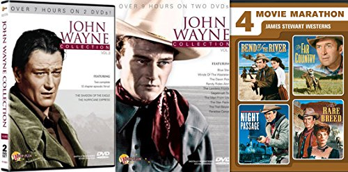 James Stewart icon Western 4 Pack Far Country / Bend of the River / Rare Breed / Night Passage + John Wayne Collection Western High Plains Drifter / Joe Kidd / Two Mules For Sister Sara movies DVD Set