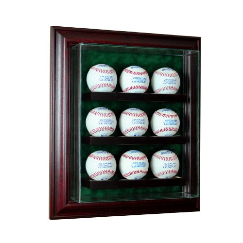 Glass 9 Ball Baseball Cabinet Style Display Case (Multiple Baseball Display Case)
