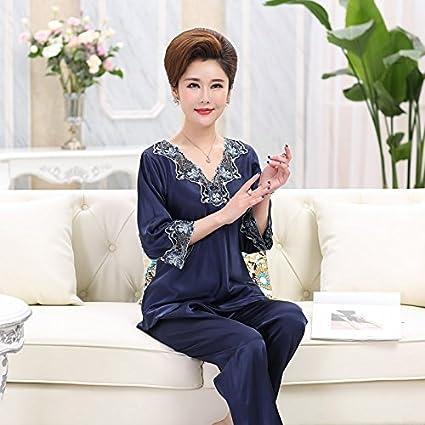 MH-RITA - Pijama de Seda para Mujer con Diseño de Pijama de Primavera y