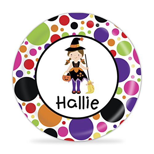 Halloween Plate - Girl Witch Costume, Happy Halloween (Easy Witch Costume)