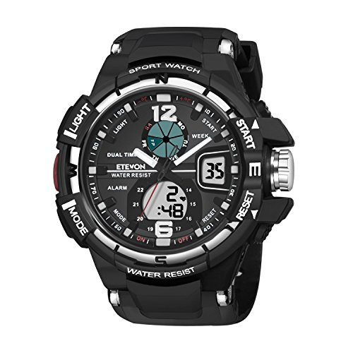 Men's Quartz luxury Big Face Analog Digital Watch Dual Time, Military Outdoor Sport Watches for Men Black (Black Face Metal Band Zone)