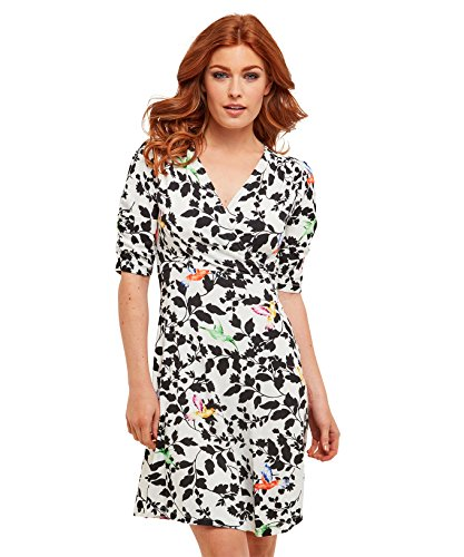 Joe Browns Womens 3/4 Sleeve Jersey Wrap Dress in Hummingbird Print White Multicolored 4