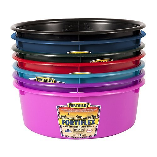 Fortiflex Mini Feed Pan for Dogs and Horses, 5-Quart, Hot Pink