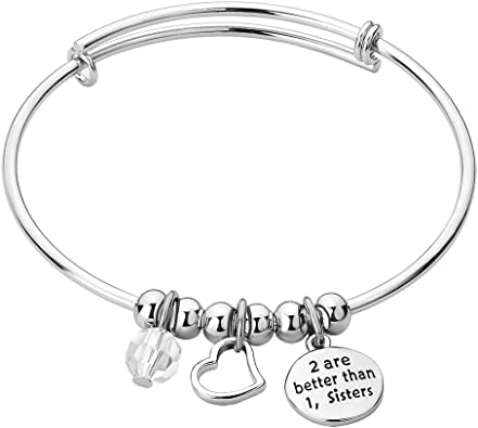 3 Sisters Bangle Bracelets Sisters Gift,Personalized I Smile Because Your My Sister 3 Sisters Bracelets Birthstone Bracelets For Sisters