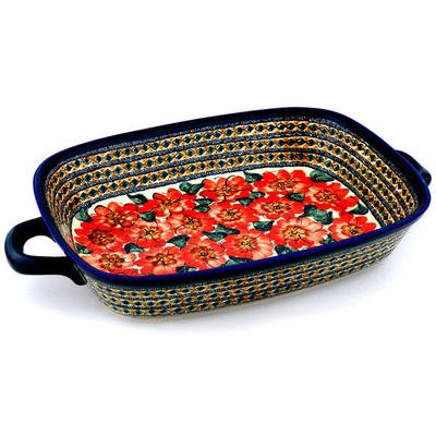 Polish Pottery Rectangular Baker with Handles 19-inch Peach Poppies UNIKAT by Polmedia Polish Pottery