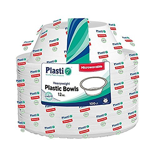 Plasti Plus 100-Count Disposable Plastic Heavy Weight Microwave Safe Bowls, 12 Ounce, White (Pack of 1)