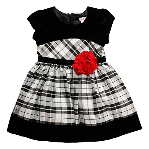 Youngland Little Girls' Toddler Plaid Occasion Dress With Velvet Border and Floral Trim At Waist, Black/Silver, 2T (Velvet Skirt Fully Lined)