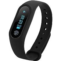 Fosa Pulsera Inteligente con Monitor de Ritmo Cardíaco,Monitor de Presión Arterial,Podómetro, Monitor de Sueño, Recordatorio,Pulsera Reloj Bluetooth con Pantalla OLED Compatible con iOS y Android(Negro)