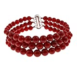3 Row Dyed Red Coral Round Journey Bead Bracelet Sterling Silver clasp Jewelry for Women