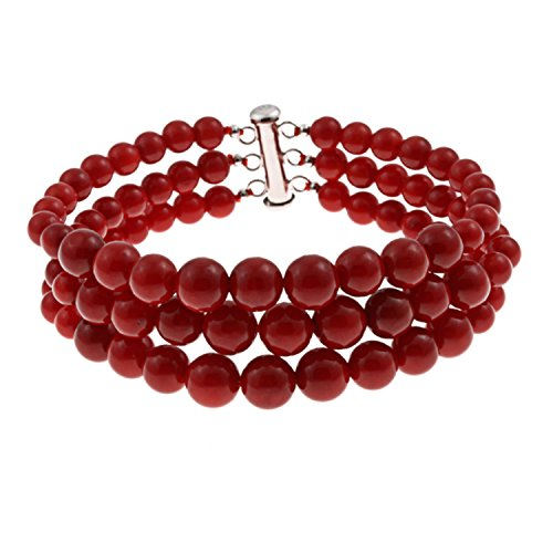 (3 Row Dyed Red Natural Coral Round Journey Beads Bracelet for Women Sterling Silver Clasp)