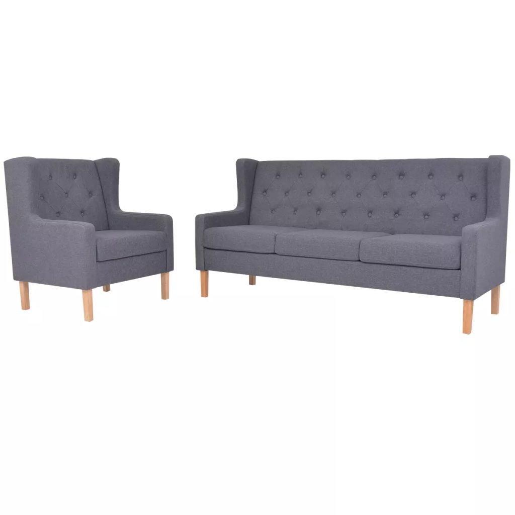 XINGLIEU 2-teiliges Sofa-Set mit Holzrahmen + Stoffpolsterung, 76 x 68 x 90 cm (B x T x H) Grau