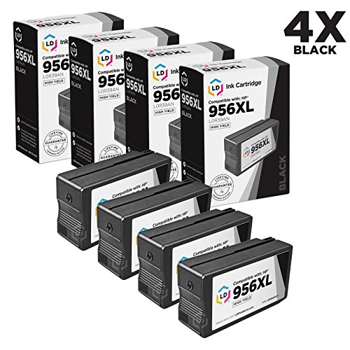LD Compatible Replacement for HP 956XL L0R39AN Pack of 4 Extra High Yield Black Ink Cartridges for OfficeJet Pro 7720, 7730, 7740, 8200, 8700, 8725, 8735, 8736, 8740, 8745, 8746, 8747 ()