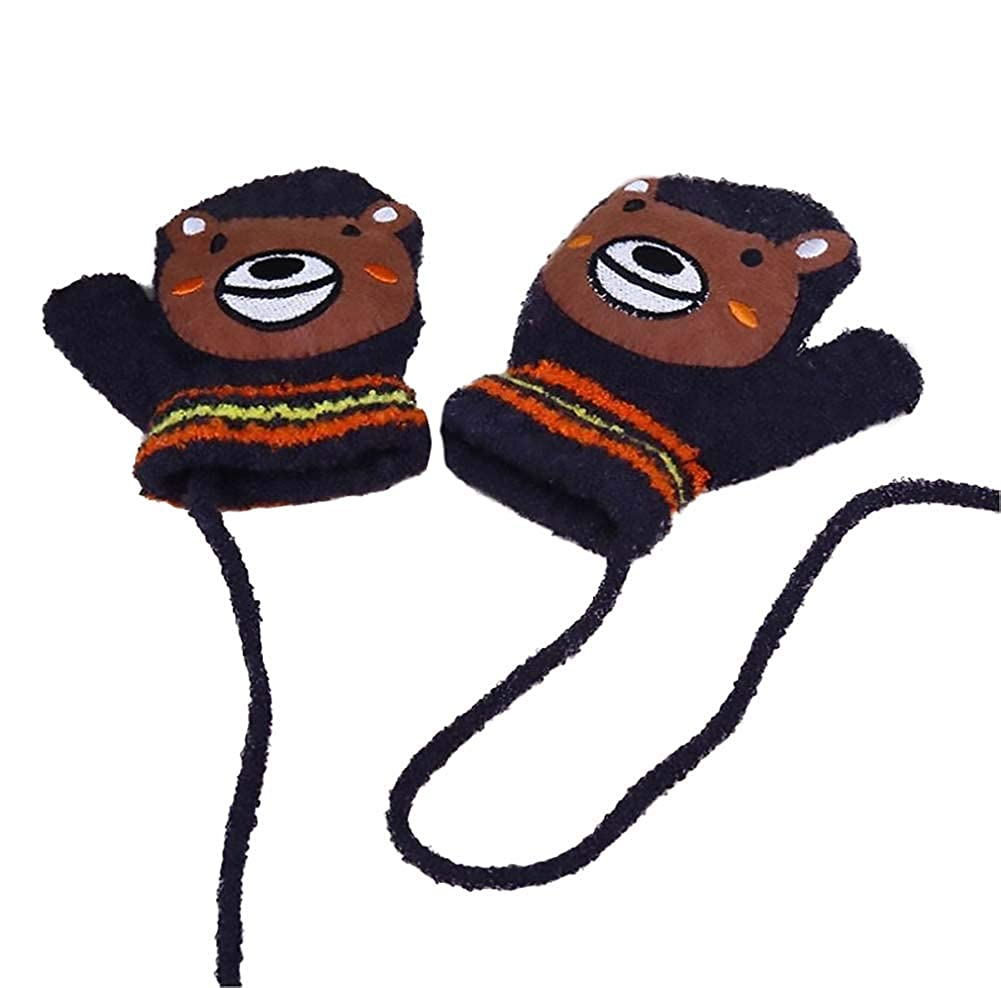 Topsaire Winter cute Cartoon warm Gloves Knitted Lanyard Gloves-1 Pair for Sell