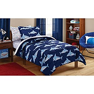 Reversible Comforter and Matching Sheet Set for All Seasons (Twin, Sharks)