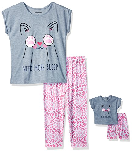 Komar Kids Big Girls' for Me and My Dream Doll Jersey Pajama Set, Sleepy Cat, 4 -