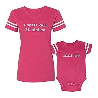 We Match! I Shall Call It Mini Me & Mini Me Matching Women's Football V-Neck T-Shirt & Baby Bodysuit Set (12M Bodysuit, Women's Football T-Shirt 2XL, Hot Pink)