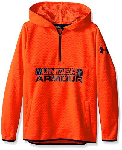 (Under Armour Boys' ColdGear Infrared Fleece Hoody Bolt Orange / Blue Knight XL)