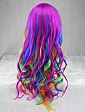 """25"""" Womens Long Anime Costume Curly Wavy Rainbow Hair Cosplay Party Wig +Wig Cap (Multi-Color)"""
