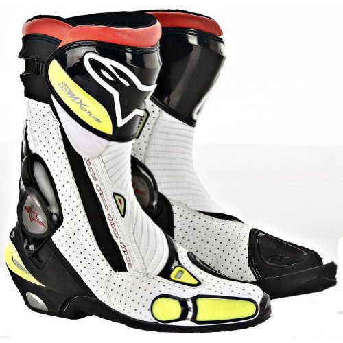 Alpinestars S-MX Plus Vented Men's Leather Street Motorcycle Boots - Black/White/Flourescent Yellow / Size 37