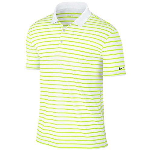 Nike Icon Stripe Golf Polo 2016 Volt/White/Black Medium (Best Price Embroidered Polo Shirts)