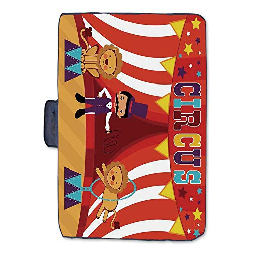 Circus Decor Stylish Picnic Blanket,Tamer and Lions Circus Performance Amusing Celebrating Decorative Party Mat for Picnics Beaches Camping,50