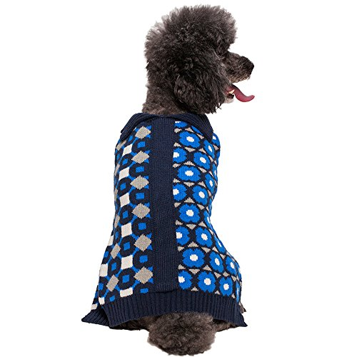Fancy Dog Sweaters (Blueberry Pet 2 Patterns Fancy Unparalleled Graphics Dog Sweater in Midnight Blue, Back Length 16