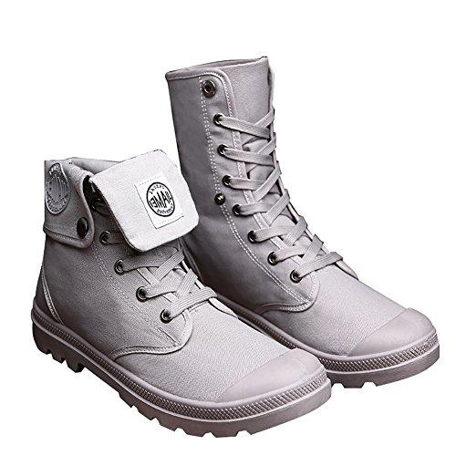 Odema Heren Canvas Schoenen Hightop Sneakers Plat Enkellaars Veterschoen Grijs