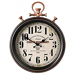 XAJGW Large 45cm Round Silver Roman Numeral Pocket Watch Kensington Station Wall Clock,Antique Retro Quartz Wall Clock Living Room Kitchen Bedroom Office (Without Battery) (Color : Roman Numerals)