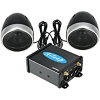 Aileap M600 Motorcycle/ATV Audio System with Bluetooth, FM Radio, Aux Input, One Pair of 3.5 Weatherproof Speakers and Full Function Wired Control, Excellent Sound System on Riding